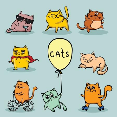 Illustration pour Set of vector cute funny cats for greeting card design - image libre de droit