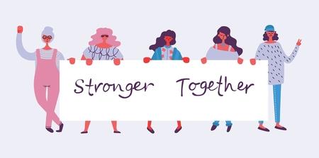 Ilustración de Stronger together. Feminine concept and woman empowerment design - Imagen libre de derechos