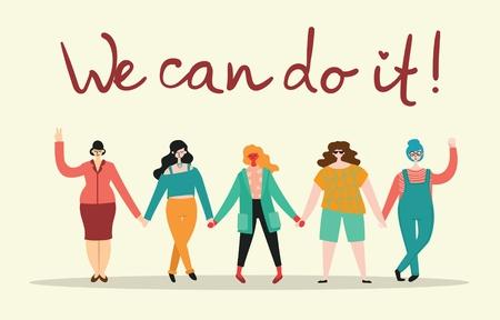 Ilustración de We can do it. Feminine concept - Imagen libre de derechos