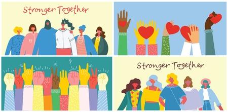 Ilustración de Stronger together illustration set. - Imagen libre de derechos
