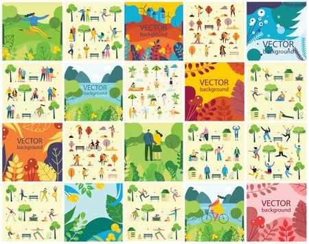 Illustration pour Eco  set with season leaves and flowers - image libre de droit