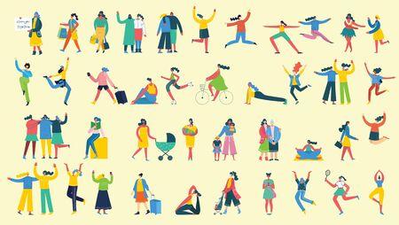 Illustration pour Group of happy female friends, mothers in flat design. - image libre de droit