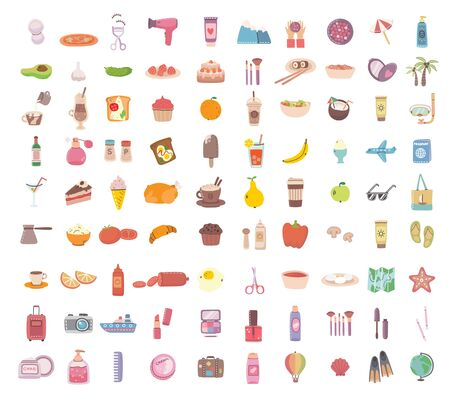 Illustration pour Big set of food, drink bodycare, travel and summer holiday related objects and icons. For use on poster, banner, card and pattern collages. Modern vector flat style illustration - image libre de droit
