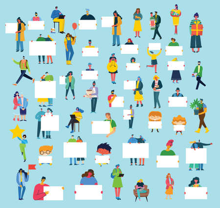 Illustration pour Set of people, men and women with different signs. Vector graphic objects for collages and illustrations. Modern colorful flat style. - image libre de droit