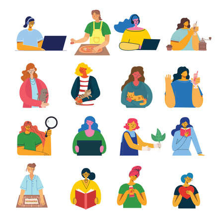 Illustration pour Set of women with different things.. Vector graphic objects for collages and illustrations. Modern colorful flat style. - image libre de droit