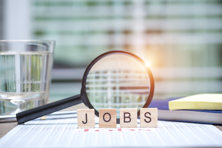 Jobs search concept, Wooden word \