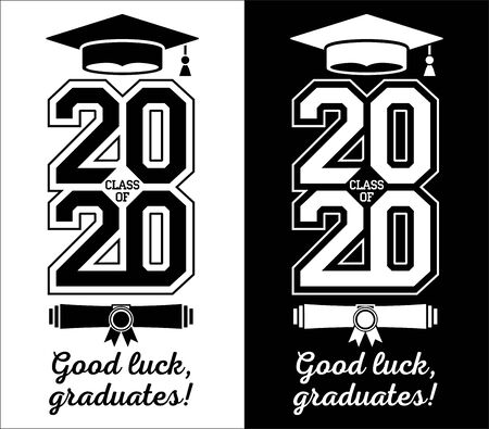 Illustration for Class of 2020 . The concept of designing congratulations for graduates of the school. T-shirt design. Vector - Royalty Free Image