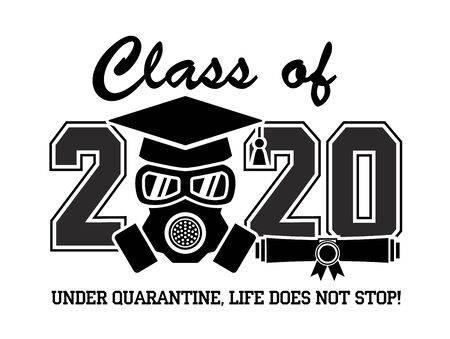 Illustration for 2020 Quarantine graduation party. Graduate in a respirator and goggles. Concept for the design of a greeting card, logo, flyer, t-shirt design. Illustration, vector - Royalty Free Image