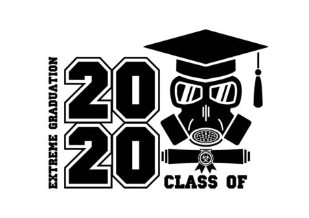 Illustration for 2020 Quarantine extreme graduation party. Graduate in a respirator and goggles. Concept for the design of a greeting card, logo, flyer, t-shirt design. Illustration, vector - Royalty Free Image