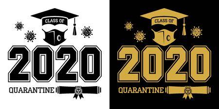 Ilustración de Class of 2020 during quarantine - lettering for greeting, invitation card. Text for graduation design, greetings, t-shirts, party, high school or college graduates. Illustration, vector - Imagen libre de derechos