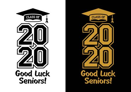 Illustration for Class of 2020 . The concept of designing congratulations for seniors graduates of the school. T-shirt design. Vector - Royalty Free Image
