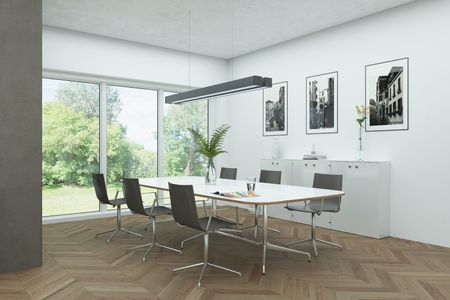 modern white skandinavian interior design diining room 3d Illustration