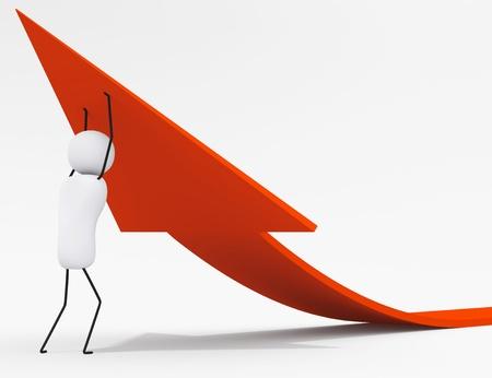 3D little people series, character raises arrow sign