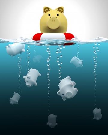 Photo for Insured vs  not insured savings illustration - Royalty Free Image