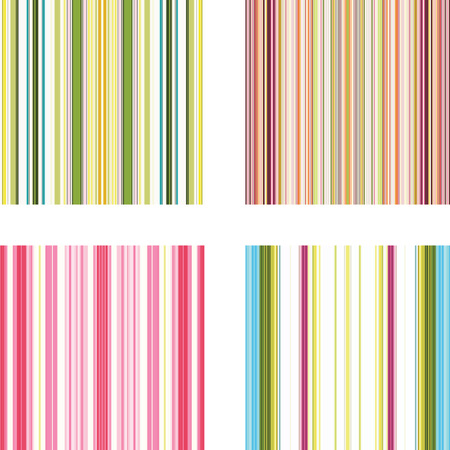 Illustration for Four retro (seamless) vector stripe patterns in bright colors - Royalty Free Image