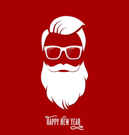 Ilustración de Hipster Santa Claus, Party, Greeting Card, Banner, Sticker, Hipster Style. Hipster Haircut. - Imagen libre de derechos