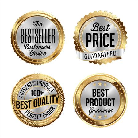 Illustration pour Gold and Silver Badges. Set of Four. Bestseller, Best Price, Best Quality, Best Product. - image libre de droit