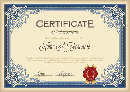 Illustration for Certificate of Achievement Vintage Floral Frame. Royal Blue. - Royalty Free Image