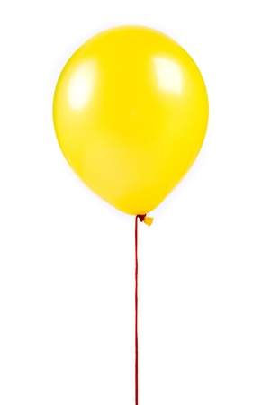 Yellow balloon on white background