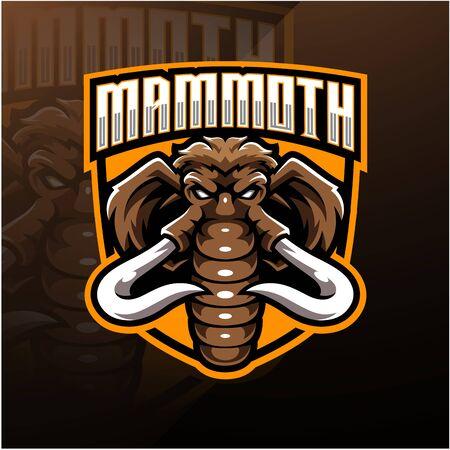 Illustration pour Mammoth head esport mascot logo design - image libre de droit