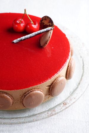 French gourmet cherry-chocolate mousse cream cake