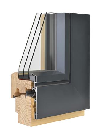Aluminum/wooden window profile with triple glazing