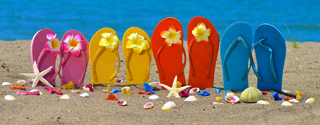 Foto de Flip flops, seashell and starfish with tropical flowers on sandy beach - Imagen libre de derechos