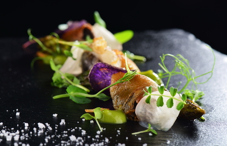 Photo for Haute cuisine, Gourmet food scallops with asparagus and lardo bacon - Royalty Free Image