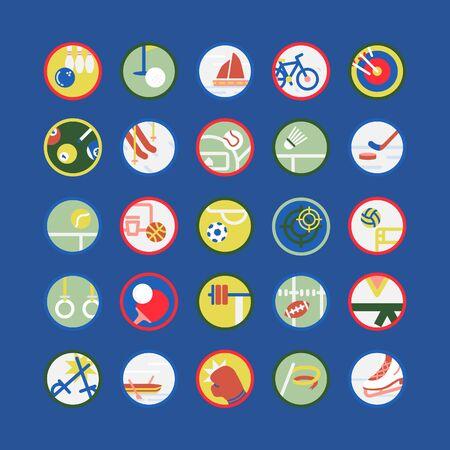 Illustration pour Set vector illustration of sports equipment with flat elements. - image libre de droit