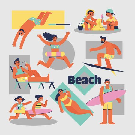 Illustration pour Activities of people on the beach vector cartoon characters - image libre de droit