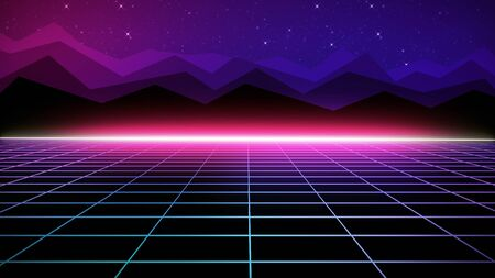 Photo pour Retro futuristic bright background with a grid. 80s graphic design, retro fantasy. The background is perfect for any thematic presentation or your own graphic project - image libre de droit