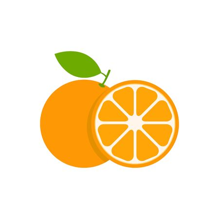 Illustration for Orange set vector icon illustration isolated on white. Fruit citrus with pieces or slices. - Royalty Free Image