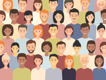 Illustration for Diverse multicultural group of people standing together (europian, asian, american). Human social diversity crowd vector illustration. - Royalty Free Image
