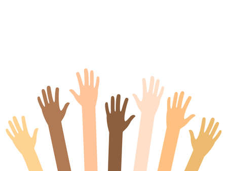 Illustration for Raised hands of diversity people vector isolated on white. Teamwork and volunteering concept. Charity, crowd, collaboration illustration. Arms up with different skin color. - Royalty Free Image