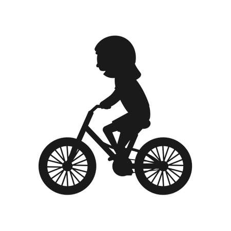 Illustration pour Cute girl riding bike silhouette. Healthy lifestyle in black color concept. Little child rides bicycle. Vector isolated on white - image libre de droit