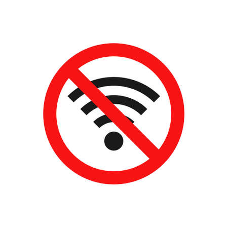 Illustration for No wifi icon. Red ban circle sign. Prohibition wireless network pictogram. No internet concept.  Wireless technology symbol. Vector isolated on white background - Royalty Free Image
