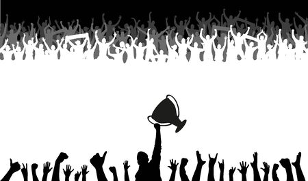 Illustration for Cheering people with champion Cup - Royalty Free Image