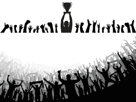 Illustration for Champion cup european world and crowd many people entertain event playing and happy dancing from party in arena Vector illustration - Royalty Free Image