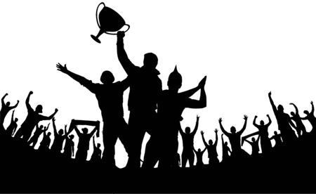 Illustration for Champion cup european world and crowd many people entertain event playing and happy dancing from party in stadium Vector illustration - Royalty Free Image