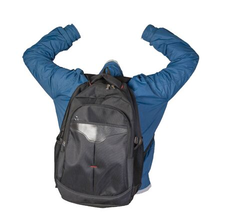 Foto de black backpack dressed in a blue jacket isolated on a white background. back view backpack and jacket - Imagen libre de derechos