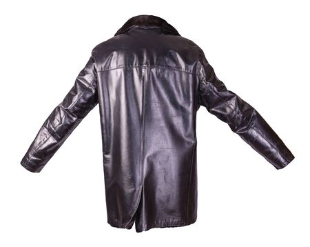 Photo pour leather male sheepskin coat isolated on white background.black leather men's jacket with fur - image libre de droit