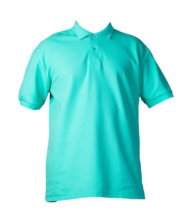 Photo pour  short sleeved green t-shirt with button-down collars isolated on white background cotton shirt . Casual style - image libre de droit