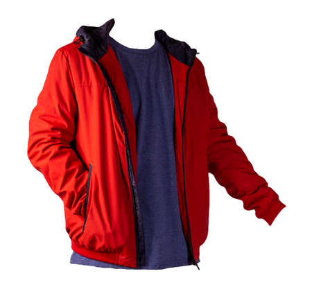 Photo pour red zipped jacket and dark blue t-shirt isolated on a white background. Casual style - image libre de droit