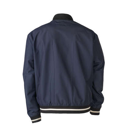 Photo pour mens dark blue bomber jacket isolated on white background. fashionable clothes for every day - image libre de droit