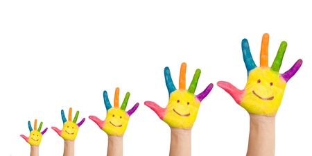 Five colorful hands with smile