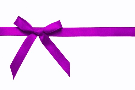 Purple satin bow on a satin ribbon. Ready for your text. Festive background or texture. Christmas gift.