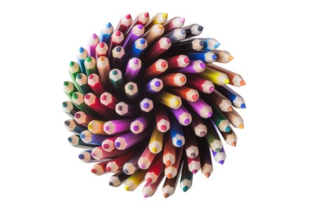 Photo for Top view of color pencils isolated on white background - Royalty Free Image