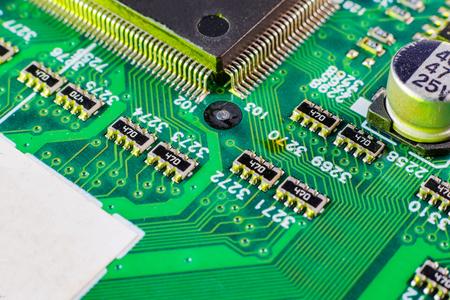 Photo pour Electronic board components, Motherboard digital chip. Tech science background. Integrated communication processor. - image libre de droit