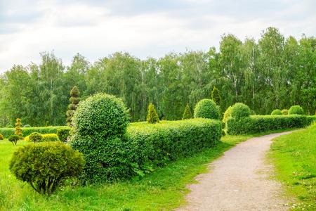 Foto de Topiary art landscape. Beautiful garden art decoration on blossom exotic trees background in the park. - Imagen libre de derechos
