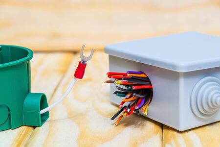 Photo pour Electrical junction boxs with cables wire usually used in the electric installation process - image libre de droit